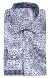 English Laundry Men's Big And Tall Trim Fit Floral Dress Shirt Navy