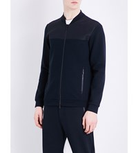 Armani Collezioni Stand Collar Tracksuit Bomber Jacket Navy