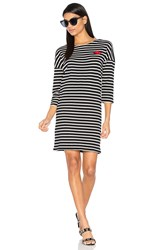 Maison Scotch 3 4 Sleeve Sweat Dress Black And White