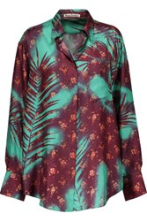 Acne Studios Addle Printed Silk Satin Twill Shirt Multi