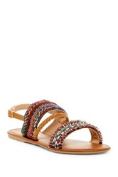 Nature Breeze Dolly Braided Ankle Strap Sandal Brown