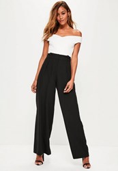 Missguided Black Pleated Waist Wide Leg Trousers