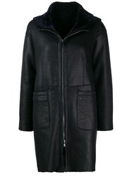 Salvatore Santoro Zipped Hooded Coat Blue