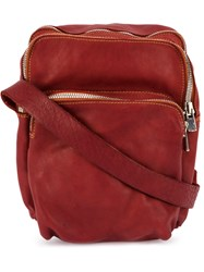 Guidi Zipped Shoulder Bag Red