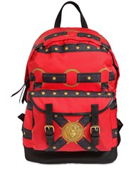 Versace Bondage Printed Nylon Backpack Red