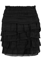 Iro Delia Fil Coupe Silk And Cotton Blend Mini Skirt Black