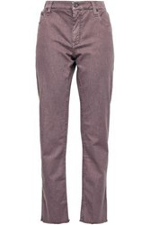 Brunello Cucinelli Bead Embellished Frayed Mid Rise Straight Leg Jeans Lilac