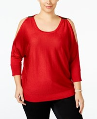 Inc International Concepts Plus Size Metallic Cold Shoulder Sweater Only At Macy's Real Red