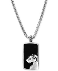 Effy Collection Effy Men's Onyx Panther Pendant Necklace In Sterling Silver