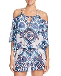 By Rebecca Virtue Inspired Cold Shoulder Swim Cover Up Tunic Multi