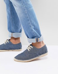 Asos Lace Up Espadrilles In Blue Denim Chambray