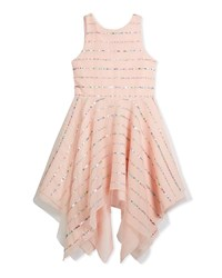Zoe Tulle Sequin Stripe Dress Pink