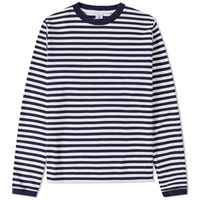 Velva Sheen Long Sleeve Narrow Stripe Tee Blue