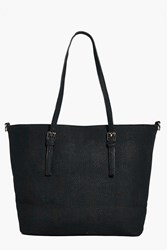 Boohoo Structured Buckle Detail Shopper Bag Black