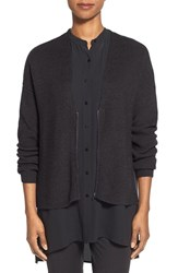 Women's Eileen Fisher Zip Front Merino Wool Cardigan Charcoal