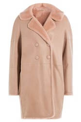 Paule Ka Lambskin Coat With Shearling Rose