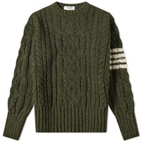 Thom Browne Aran Cable 4 Bar Donegal Crew Knit Green