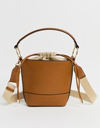 Stradivarius Top Handle Bucket Bag Tan