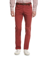 Brioni Five Pocket Twill Pants Red
