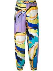 Emilio Pucci Abstract Print Cropped Trousers Women Silk 42