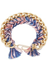 Aurelie Bidermann Gold Plated Braided Cotton Bracelet One Size
