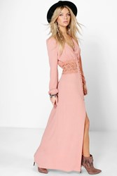 Boohoo Lace Waist Button Maxi Dress Rose