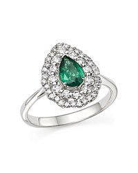 Bloomingdale's Diamond Halo And Pear Emerald Ring In 14K White Gold White Green