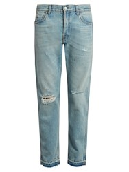 Gucci Slim Fit Cropped Distressed Jeans Light Blue