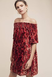 Anthropologie Barrott Velvet Off The Shoulder Dress Red