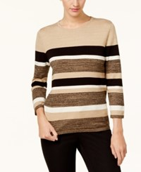 Alfred Dunner Striped Sweater Tan