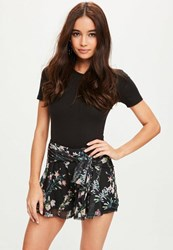 Missguided Black Mesh Tie Front Floral Shorts