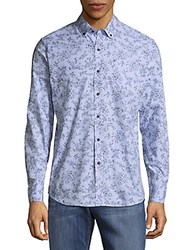 Report Collection Floral Print Button Down Shirt Blue