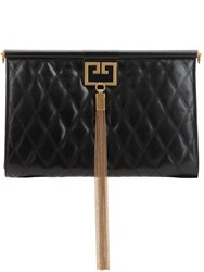 Givenchy Large Gem Quilted Leather Clutch Black