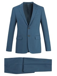 Prada Two Button Single Breasted Wool Suit Blue