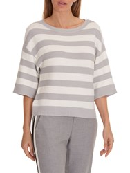 Betty And Co. Striped Jumper Silver White