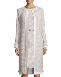 Oscar De La Renta Collarless Paneled Tinsel Tweed Coat Pink Gray Gray Pink