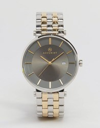 Accurist Mixed Metal Bracelet Watch With Grey Dial Gold Silver