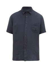 120 Lino Short Sleeved Linen Shirt Navy