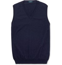 Incotex Knitted Cotton Blend Sweater Vest Navy