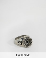 Reclaimed Vintage Peace And Skull Ring In Silver Silver