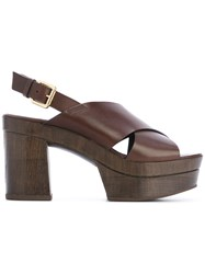 L'autre Chose Clogs With Crossover Straps Women Calf Leather Leather Rubber 35 Brown