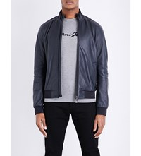 Armani Jeans Leather Bomber Jacket Navy