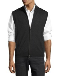 Neiman Marcus Wool Blend Sweater Vest Brown