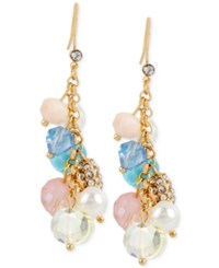 Macy's M. Haskell Gold Tone Shaky Pastel Multi Colored Bead Linear Drop Earrings