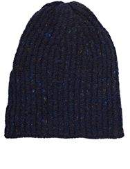 Inis Meain Men's Rib Knit Beanie Blue