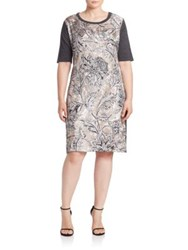 Marina Rinaldi Plus Size Gennaio Silk Front Shift Dress Grey Multi