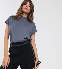 Weekday Prime Organic Cotton Boxy Straight Fit Crew Neck T Shirt In Dusty Blue