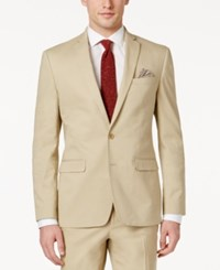 Bar Iii Men's Slim Fit Tan Stretch Jacket Only At Macy's