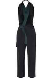 3.1 Phillip Lim Wrap Effect Silk And Cotton Twill Jumpsuit Blue