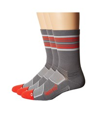 Feetures Elite Light Cushion Mini Crew 3 Pair Pack Graphite Red Stripe Crew Cut Socks Shoes Gray